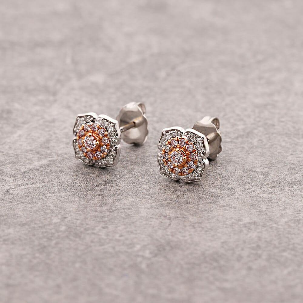 Art deco pink diamond cluster earrings